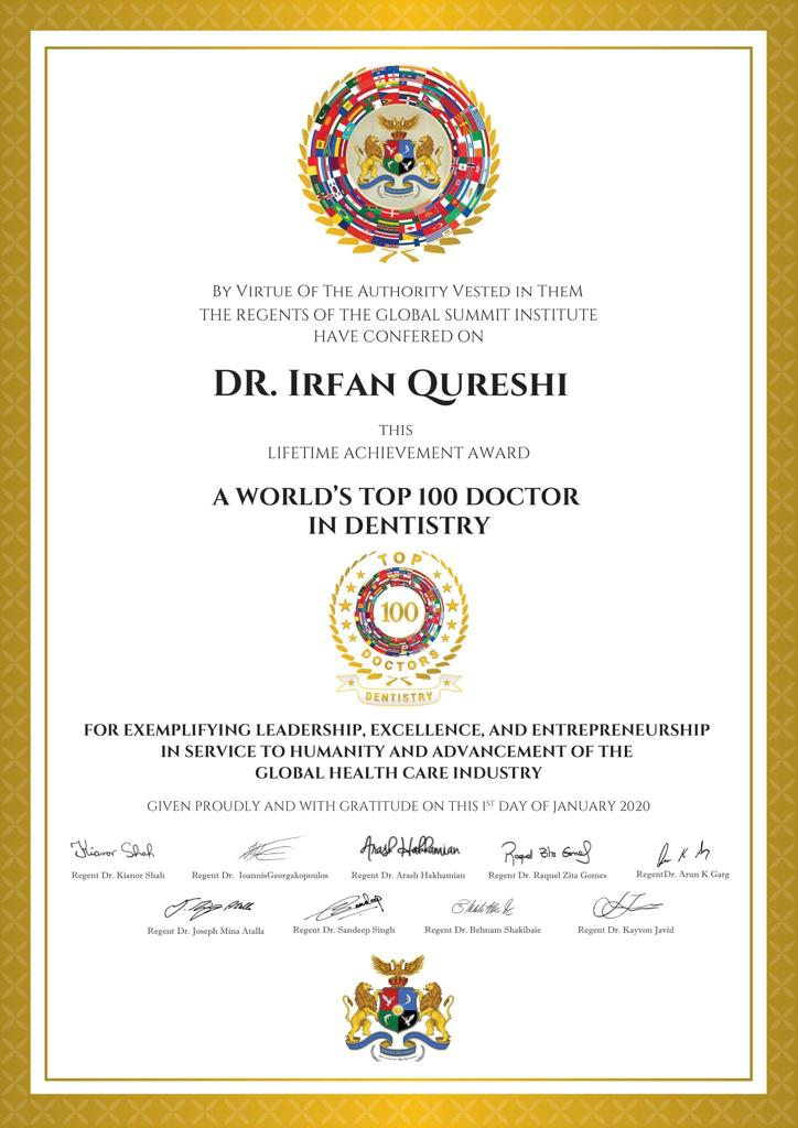 Dr Irfan recognized among the 'World's top 100 Doctor in Dentistry